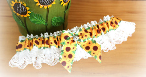 Rustic Wedding Garter - Sunflower Wedding - Summer Wedding Garter