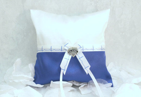 Ring Bearer Pillow - Personalized EMT/Physician Firefighter Ring Bearer Pillow - Medical