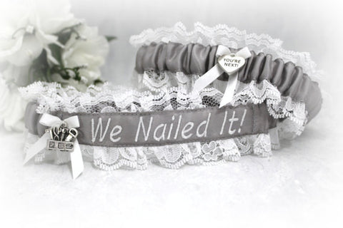 Embroidered Carpenter's Wife Wedding Garter Set - Professions Wedding Garter Belt Set - We Nailed It