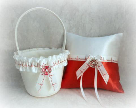 Firefighter Ring Bearer Pillow and Flower Girl Basket - Personalized Bridal Gifts
