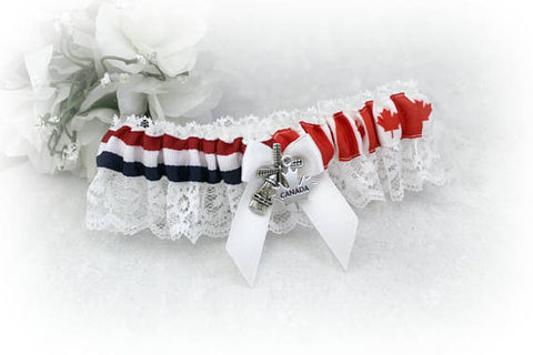 Canadian Dutch Divided Single Wedding Garter - Flag Bridal Garter - Country Pride Garter