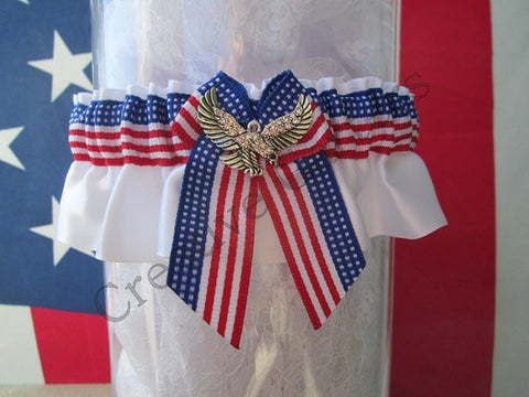Independence Day Garter - Patriotic Wedding Garter.