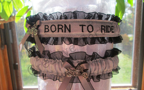 Motorcycle Inspired Wedding Garter Set - Personalized Garters - Biker Wedding Garters.