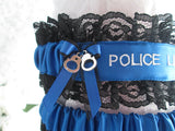 Police Wedding Garter Set - Police Line Do Not Cross - Personalized Garters.