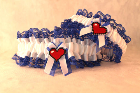 Pix-elated Heart Wedding Garter - Gamer Wedding