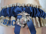 Military US Marines Wedding Garter  - Personalized embroidered garter.