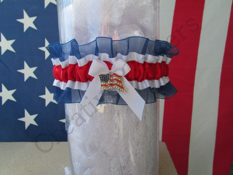 Patriotic USA Flag Wedding Garter  - Holiday Garter.