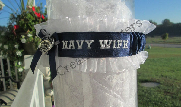 Military U.S. Navy Wedding Garter - Navy Wife Embroidered Garter.