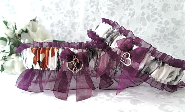 Winter Camouflage Wedding Garter Set - Camouflage Rustic Wedding Garters.