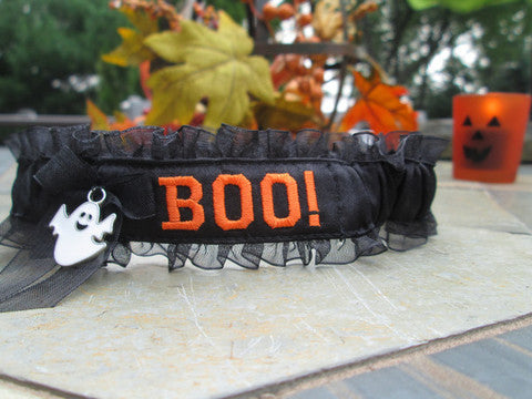Halloween Embroidered Garter - Personalized Garter.