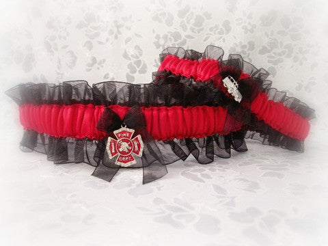 Firefighter Wedding Garter Set - First Responder Wedding Garters