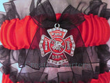 Firefighter Wedding Garter Set - Fireman Wedding Garters.
