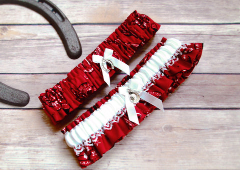 Country Western Wedding Garter Set - Bandanna Wedding Garters
