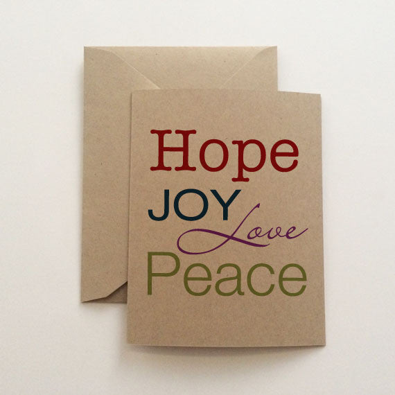 Hope Joy Peace Love Holiday Card