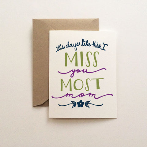 Miss you Most Mother's Day Card