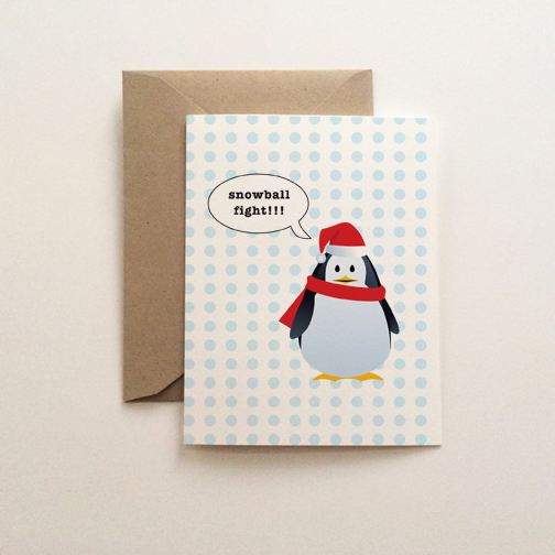 Snowball Fight Holiday Card