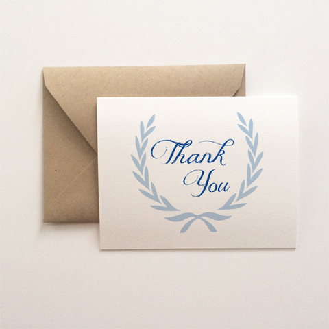 Blue Wreath Thank You Card