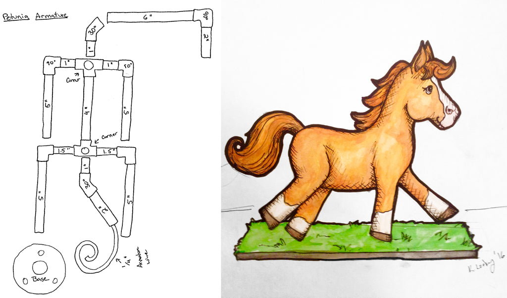 Petunia the Pony sketch with armature design