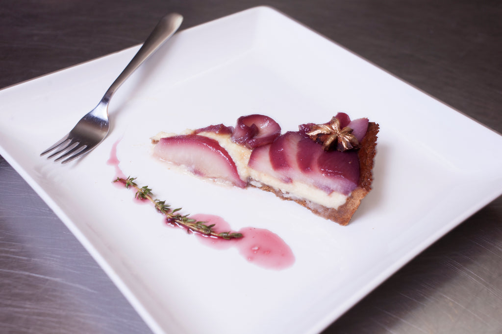 Autumn Spiced Creme Brulee Tart with Wine Poached Pears