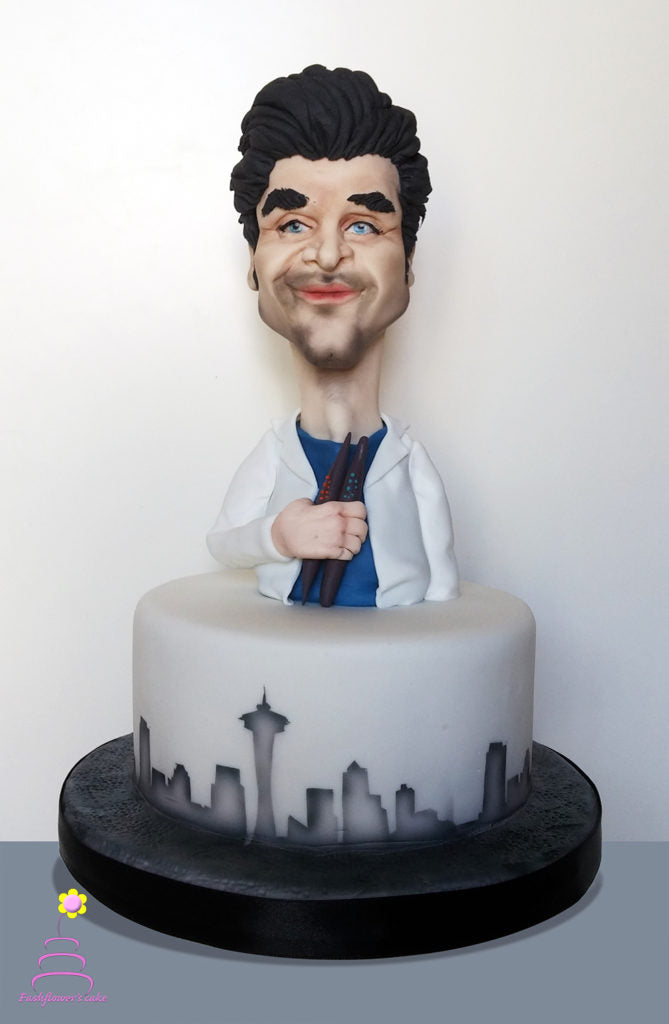 Patrick Dempsey cake Topper with Sugar Shapers
