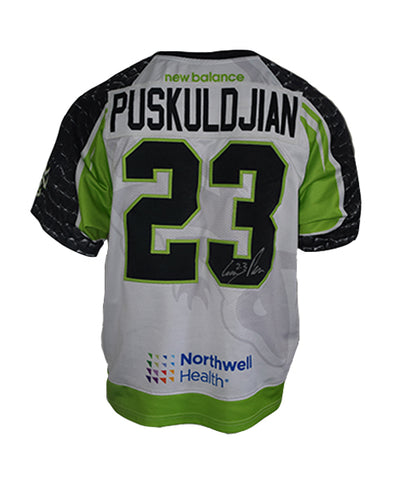 2019 Greg Puskuldjian #23 Game-Worn White Jersey