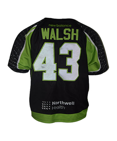 2019 Ryan Walsh #43 Game-Worn & Game-Issued Black, White, & Heroes Jerseys