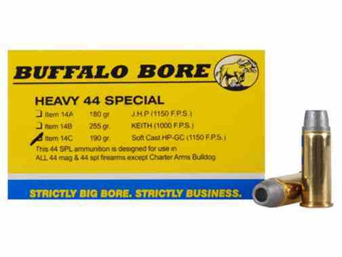 Buffalo Bore  44 SPL 190 gr. Lead Soft Cast Hollow Point Gas Check Box of 20