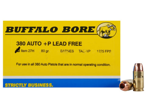 *BUFFALO BORE,   Ammunition  380 ACP +P 80 Grain Barnes TAC-XP Hollow Point Lead-Free Box of 20