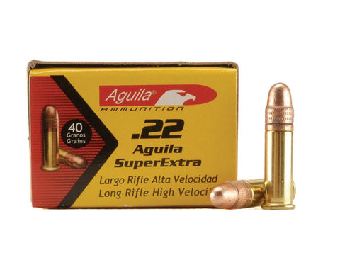 *Aguila SuperExtra ammunition  22 LR 40 gr. Plated Lead round nose Box OF 50