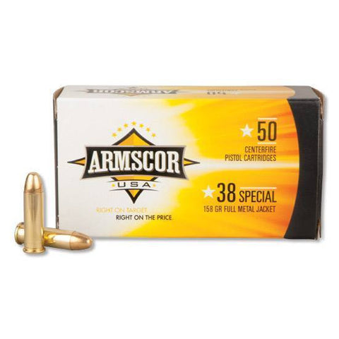 *ARMSCOR,    USA .38 Special Full Metal Jacket, 158 Grain, 800 fps, 50 Round Box