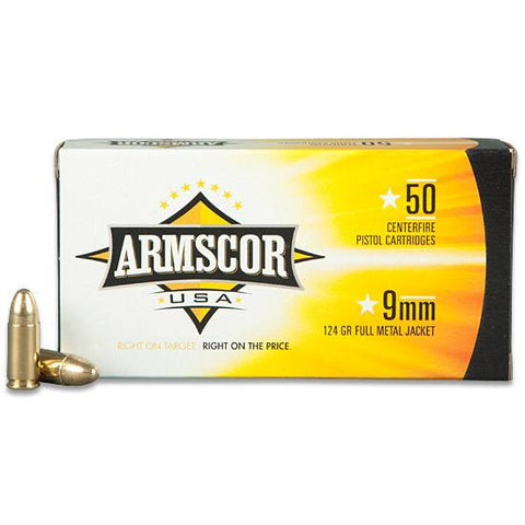 *ARMSCOR,    USA 9mm Full Metal Jacket, 124 Grain, 1090 fps, 50 Round Box,
