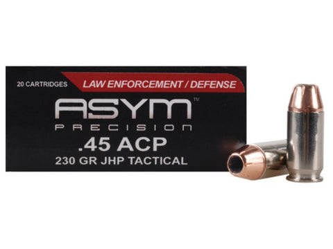 *ASYM,     Precision Tactical Ammunition 45 ACP 230 Grain Jacketed Hollow Point Box of 20