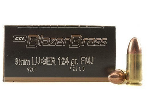 *CCI,     Blazer Brass Ammunition 9mm Luger 124 Grain Full Metal Jacket