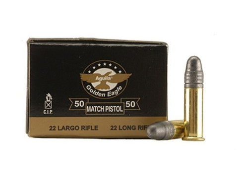 *AGUILA,    Match Pistol Ammunition 22 Long Rifle 40 Grain Lead Round Nose Box of 50