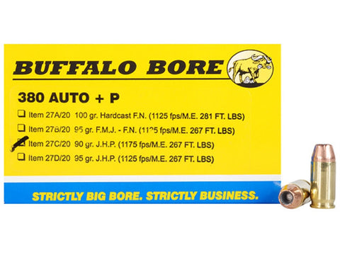 *BUFFALO BORE,   Ammunition 380 ACP +P 90 Grain Jacketed Hollow Point Box of 20