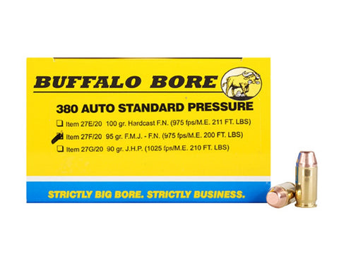 *BUFFALO BORE,   Ammunition 380 ACP 95 Grain Full Metal Jacket Box of 20