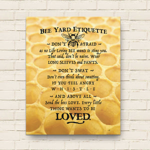Bee Yard Etiquette Canvas Wall Art