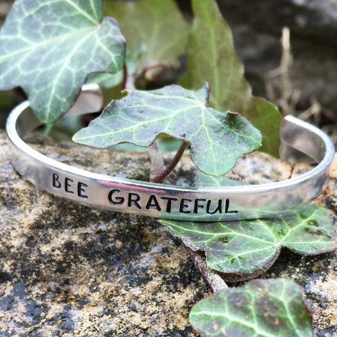 Bee Grateful - Stamped Bracelet
