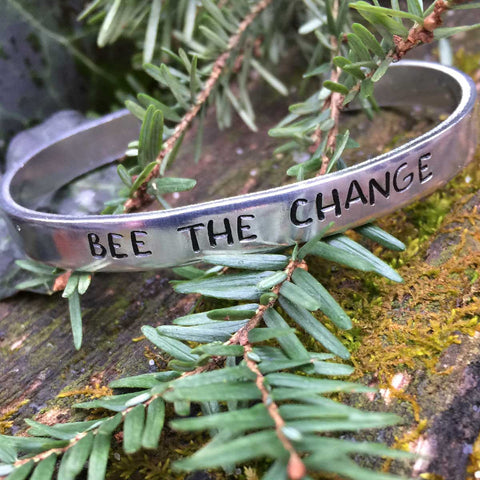 Bee The Change - Stamped Bracelet