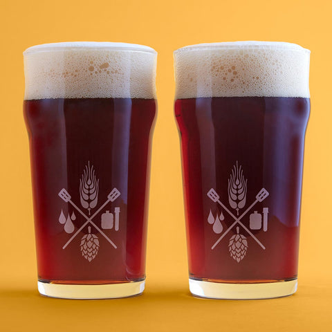 Craft Beer & Brewing 16 Oz. Nonic Pint Glasses with Nucleation