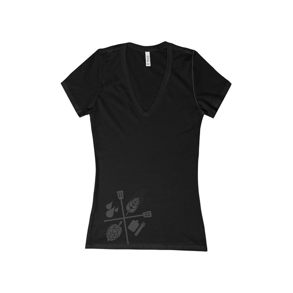 Women's Deep V-Neck Brewers T - Craft Beer & Brewing