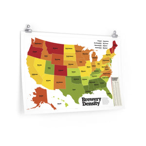 Brewery Density by State Poster - Craft Beer & Brewing