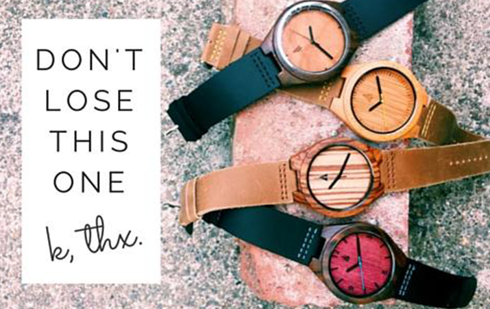 "Clever Engraving Idea for a Wood Watch: ""Don't lose this one."""