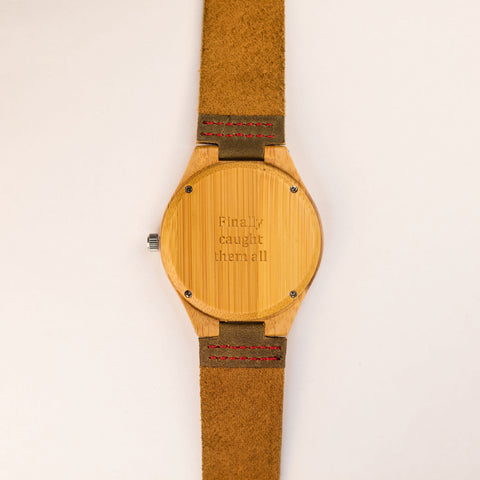 """Finally caught them all."" Tree Hut engraved personalized leather band wood watch wood watch leather band with Pokemon quote"