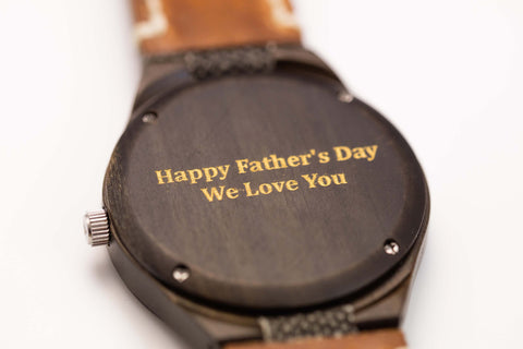 """Happy Father's Day! We Love You"" personalized, etched engraving on a Tree Hut wooden watch"