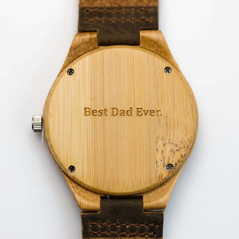 """Best Dad Ever"" personalized engraving on a Tree Hut wooden watch"