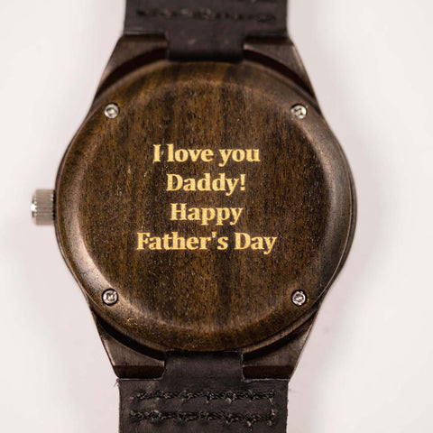 """I love you Daddy! Happy Father's Day"" Engraving on a Tree Hut Wood Watch"