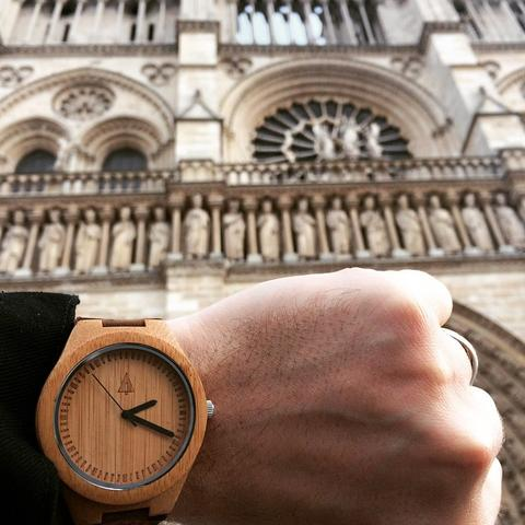Tree Hut Wood Watch Spotted at Notre Dame Cathedral in Paris, France