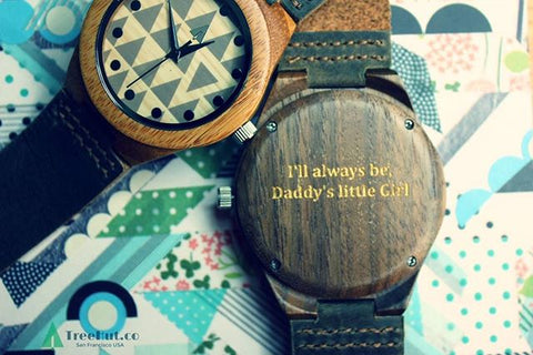 Tree Hut wood watches can be engraved with a personalized message of your choice. Great birthday, anniversary, wedding, Father's Day, or just because gifts! Engrave your memories on a Treehut watch.