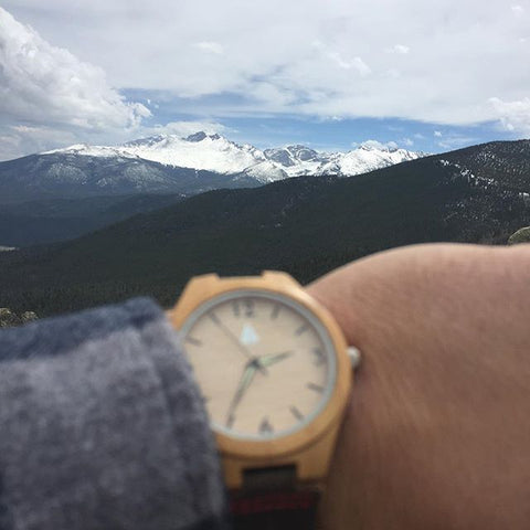 @nickyboots with his Tree Hut Nova wood watch at Rocky Mountain State National Park, Colorado